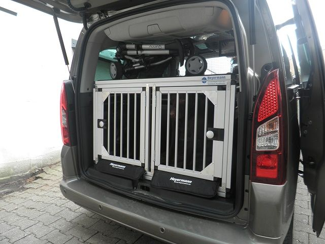 jalano doppel hundebox aus aluminium f r den transport. Black Bedroom Furniture Sets. Home Design Ideas